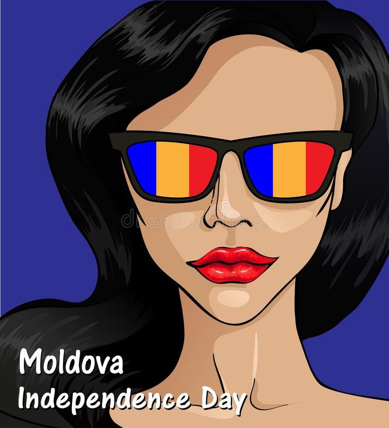 Moldavien självständighetsdagen Moldavien flagga vektor illustrationer
