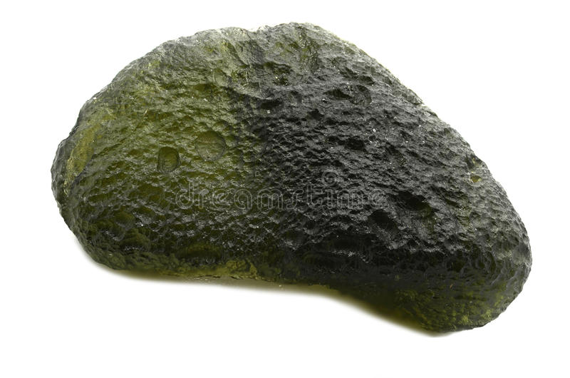 Moldavite. Sample of Moldavite a beautiful nature specimen isolated on white background royalty free stock images