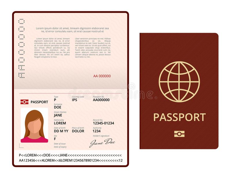 Molde aberto do passaporte da placa do vetor Passaporte internacional com a página pessoal dos dados da amostra Original para o c ilustração stock