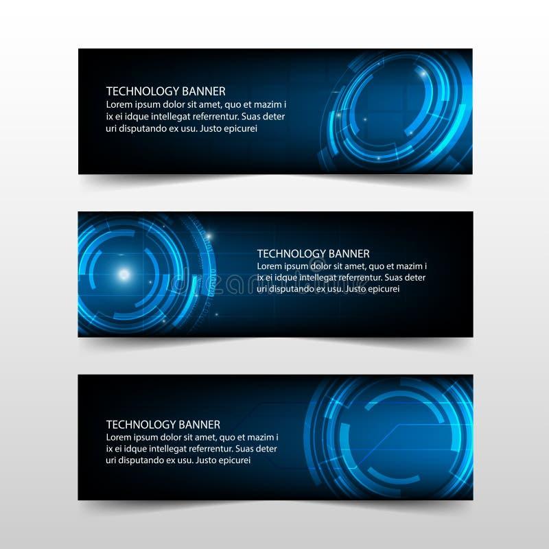 Molde abstrato azul da bandeira da empresa da tecnologia, projeto liso do molde horizontal da disposição da bandeira do negócio d ilustração stock