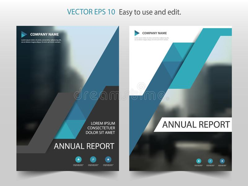 Molde abstrato azul VE do projeto do folheto do informe anual do triângulo ilustração royalty free