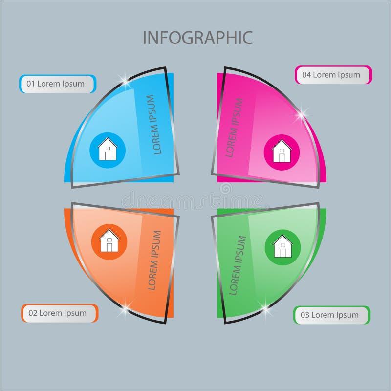 Molde abstrato das opções do número do infographics Ilustração do vetor pode ser usado para a disposição dos trabalhos, diagrama, ilustração stock