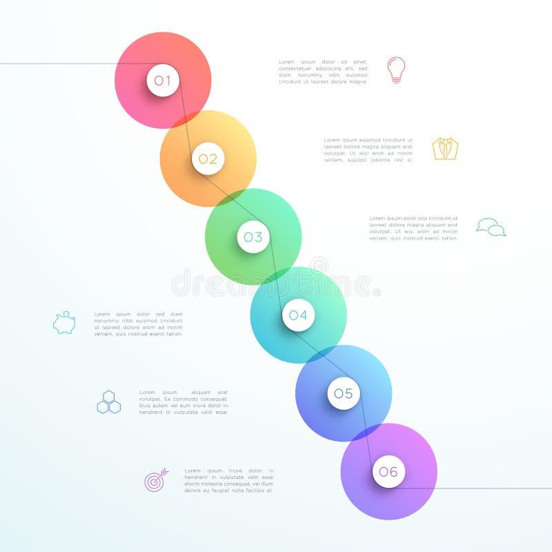 Molde abstrato de Infographic do círculo da etapa do vetor 3d 6 ilustração do vetor
