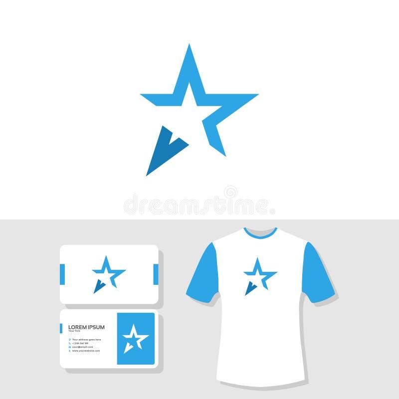 Molde abstrato do cartão do logotipo da estrela e do projeto da camisa de t ilustração do vetor
