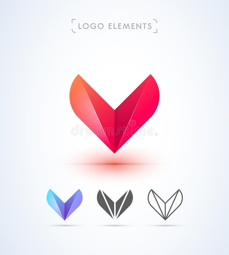 Molde abstrato do logotipo do estilo do origâmi da letra V Ícone da aplicação ilustração do vetor