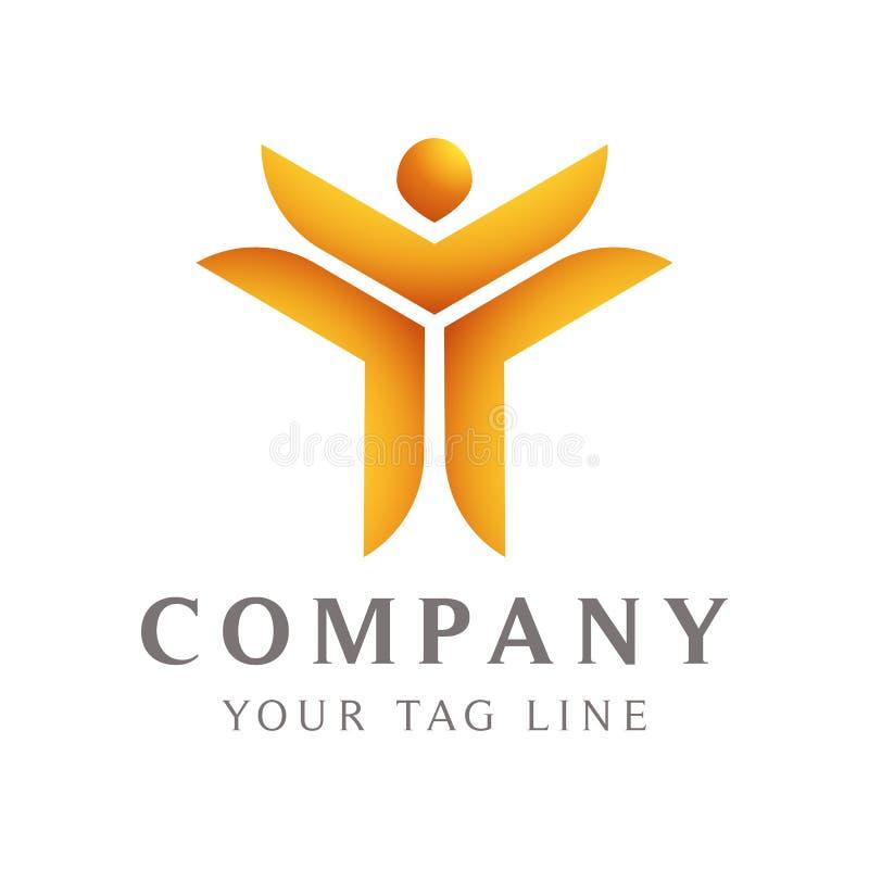 Molde abstrato do logotipo sob a forma de um corpo humano que levante sua mão ilustração royalty free