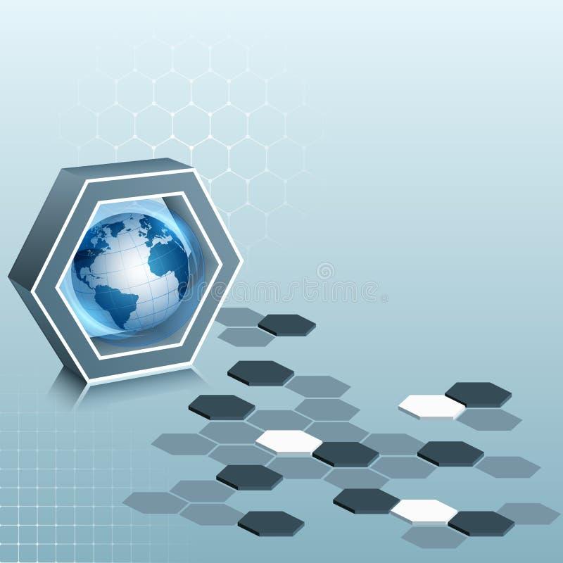 Molde abstrato do projeto, composição de três dimensões com hexágonos e globo da terra ilustração stock
