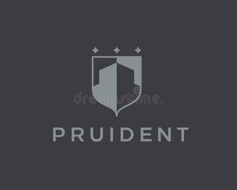 Molde abstrato do projeto do logotipo da casa Sinal superior da crista da finança dos bens imobiliários Vetor universal do protet ilustração stock