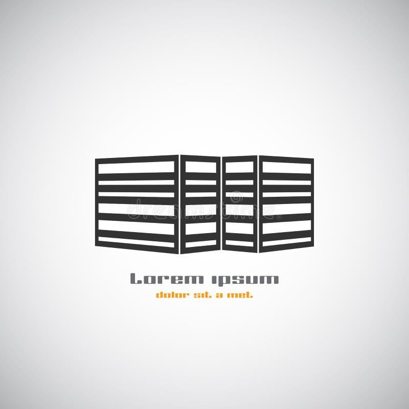 Molde abstrato do projeto do logotipo do vetor da silhueta da construção da arquitetura Tema do negócio dos bens imobiliários do  ilustração royalty free
