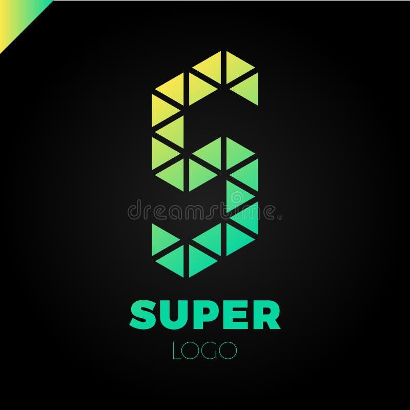Molde abstrato do projeto do logotipo da letra S Sinal criativo do polígono colorido Ícone do triângulo do vetor ilustração stock