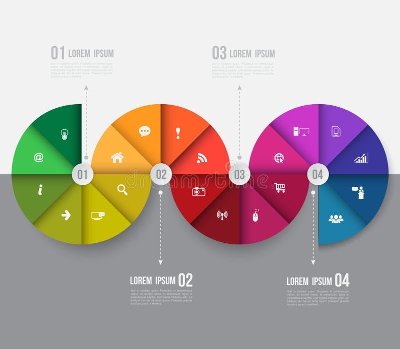 Molde abstrato dos gráficos da informação do negócio com ícones ilustração royalty free