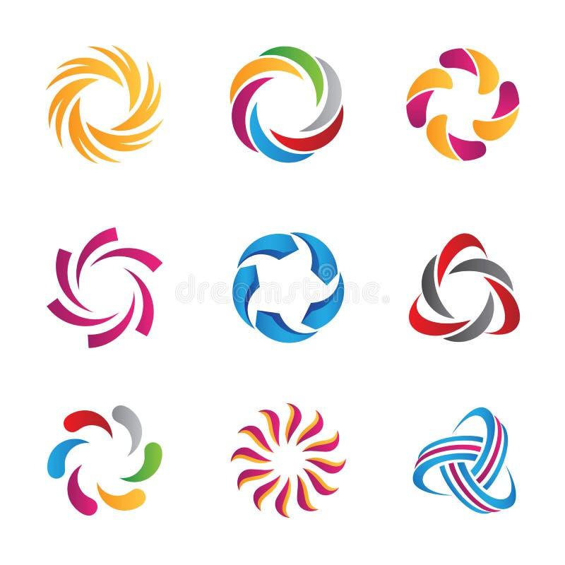 Molde abstrato dos logotipos e dos ícones do laço ilustração do vetor