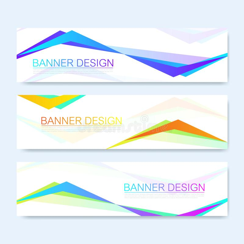 Molde abstrato moderno da bandeira da Web do vetor Elementos coloridos do design web Bandeira geométrica abstrata da Web do fundo ilustração royalty free