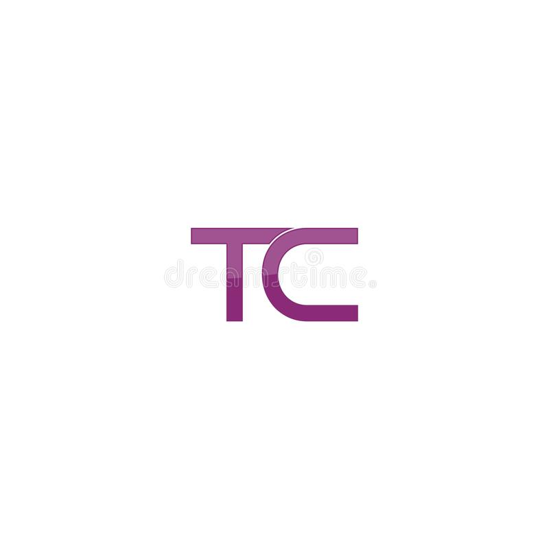 Molde abstrato moderno do ícone do vetor do projeto do logotipo da empresa do alfabeto da letra do TC ilustração stock