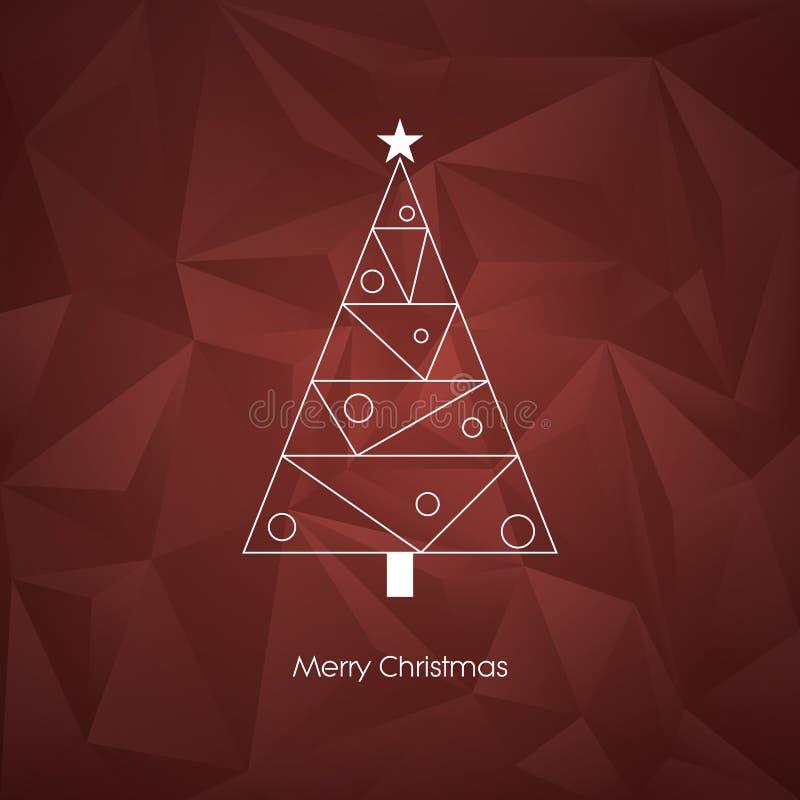 Molde abstrato moderno do cartão do vetor da árvore de Natal com linha símbolo do feriado do xmas da arte no baixo fundo poli ilustração royalty free