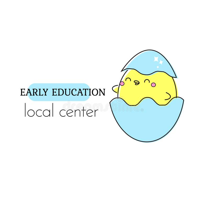 Molde adiantado do logotipo da educação Galinha pequena no ovo Sinal, etiqueta para lojas das crianças e das crianças, centro, es ilustração stock
