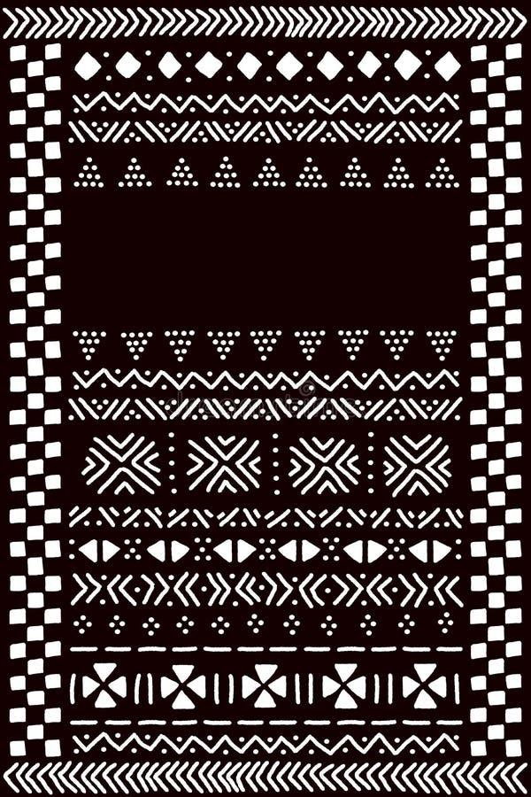 Molde africano tradicional preto e branco para uma bandeira, vetor da tela do mudcloth ilustração do vetor