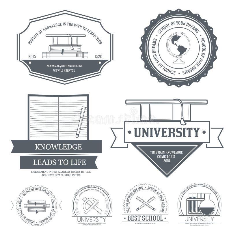 Molde ajustado da etiqueta da educação do elemento do emblema para ilustração do vetor