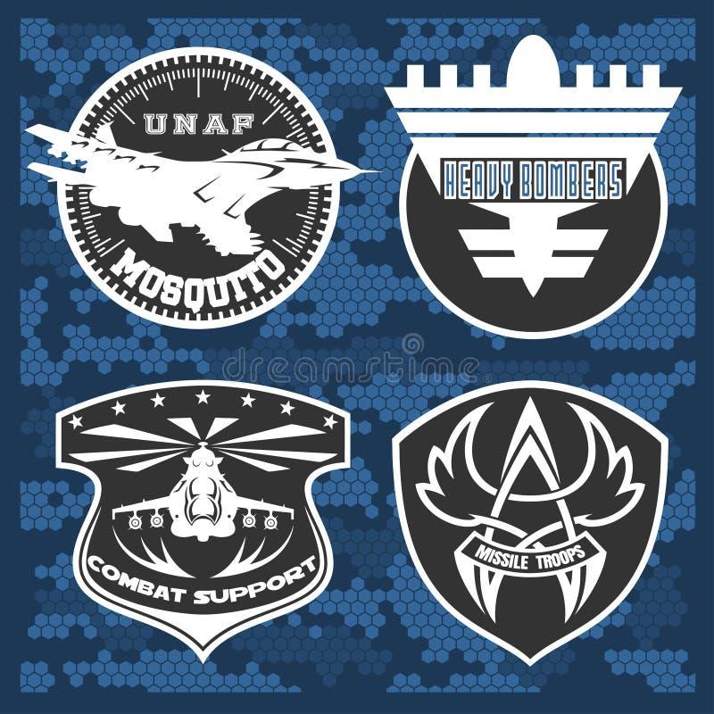 Molde ajustado do projeto do vetor do emblema militar da força aérea ilustração stock