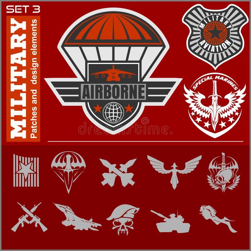 Molde ajustado do projeto do vetor do emblema militar da força aérea ilustração royalty free