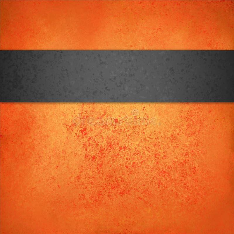 Molde alaranjado abstrato do fundo do Dia das Bruxas com a listra ou a fita textured preta ilustração stock