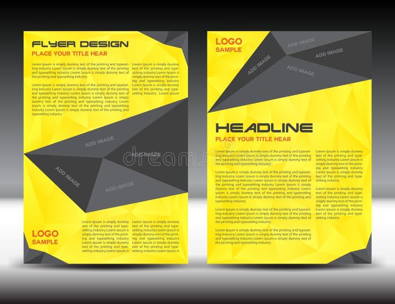 Molde amarelo da disposição de projeto do inseto do folheto, tamanho A4, primeira página e página traseira, infographics, ilustra ilustração do vetor