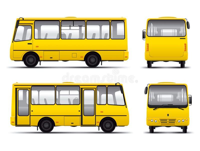 Molde amarelo do esboço do vetor do minibus ilustração stock