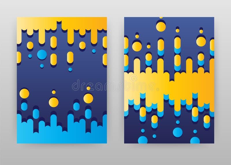 Molde amarelo do sumário e azul geométrico do projeto do cartaz ilustração do vetor