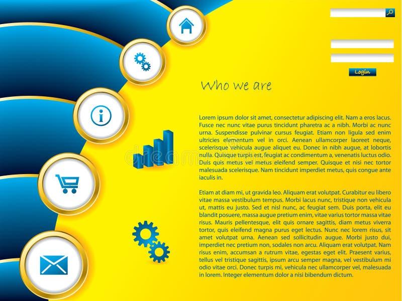 Molde amarelo do Web com efeito azul da onda ilustração do vetor