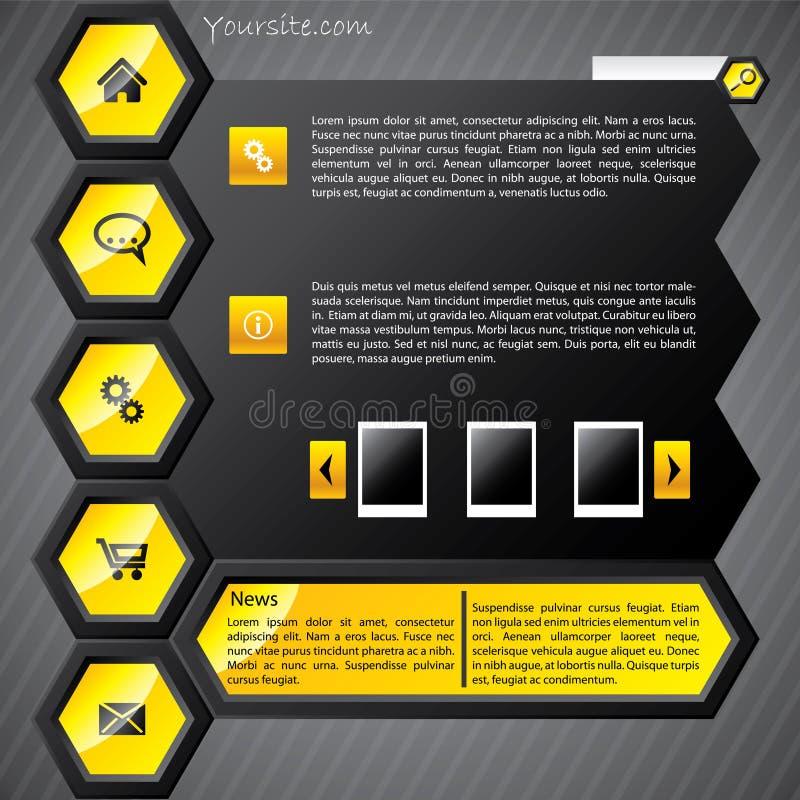 Molde amarelo Hexa do Web ilustração stock