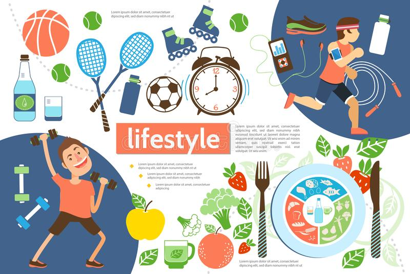 Molde ativo liso de Infographic do estilo de vida ilustração do vetor