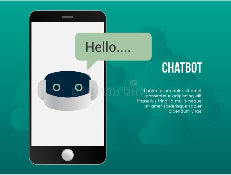 Molde automatizado do projeto do vetor da ilustração do conceito do chatbot ilustração royalty free