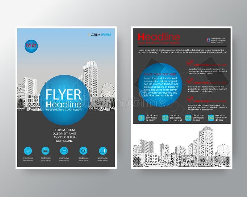 Molde azul abstrato da disposição de projeto do cartaz do inseto da tampa do informe anual do folheto do círculo ilustração do vetor