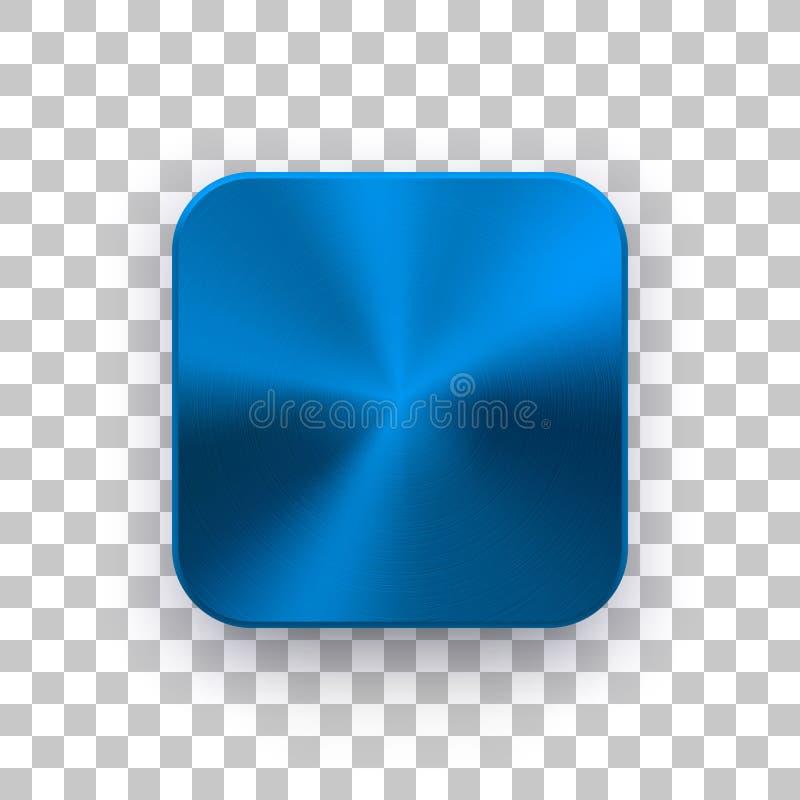 Molde azul do ícone do App com textura do metal ilustração stock