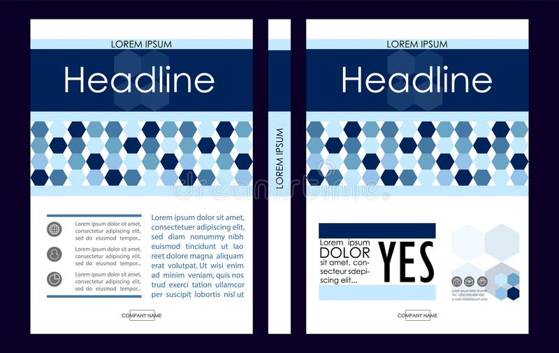 Molde azul do projeto da capa do livro do negócio A4 Bom para o portfólio, ilustração stock