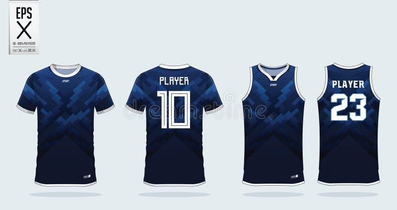 Molde azul do projeto do esporte do t-shirt para o jérsei de futebol, o jogo do futebol e a camiseta de alças para o jérsei do ba ilustração stock