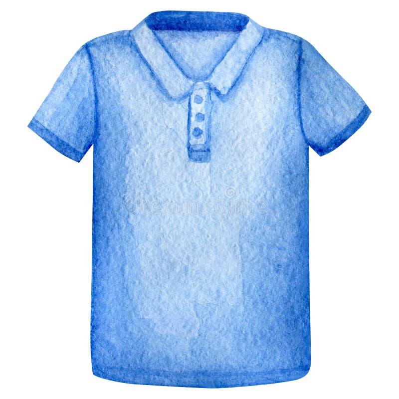 Molde azul do projeto do t-shirt do polo da aquarela watercolour ilustração royalty free