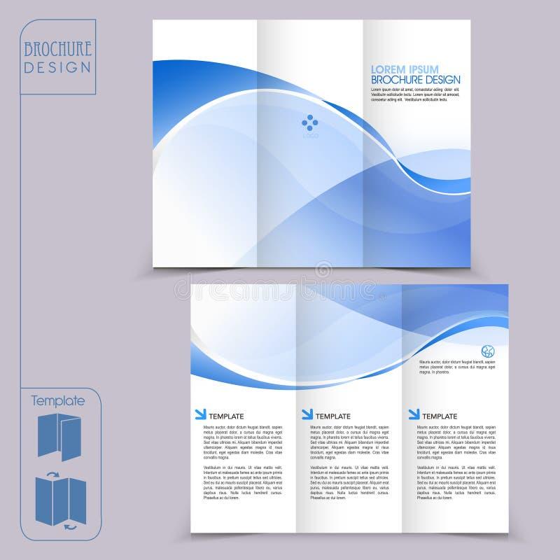 Molde azul dobrável em três partes para o folheto de propaganda do negócio ilustração royalty free
