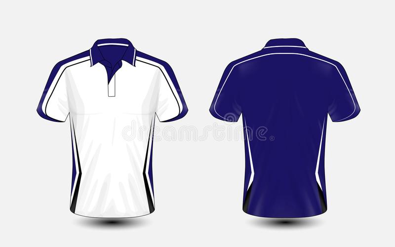 Molde azul e branco do projeto do t-shirt do e-esporte da disposição ilustração royalty free