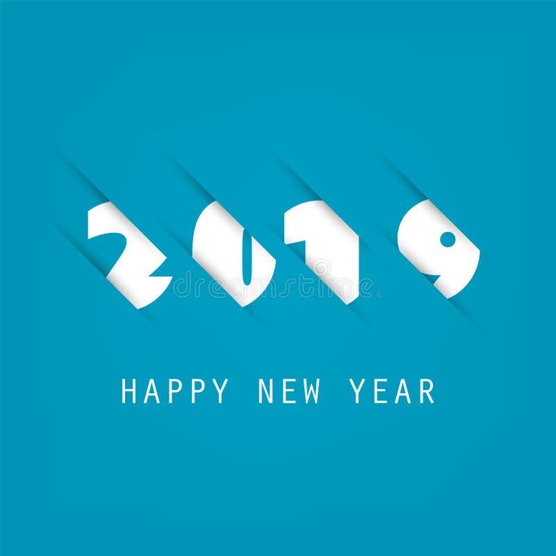 Molde azul e branco simples do projeto do cartão, da tampa ou do fundo do ano novo - 2019 ilustração stock