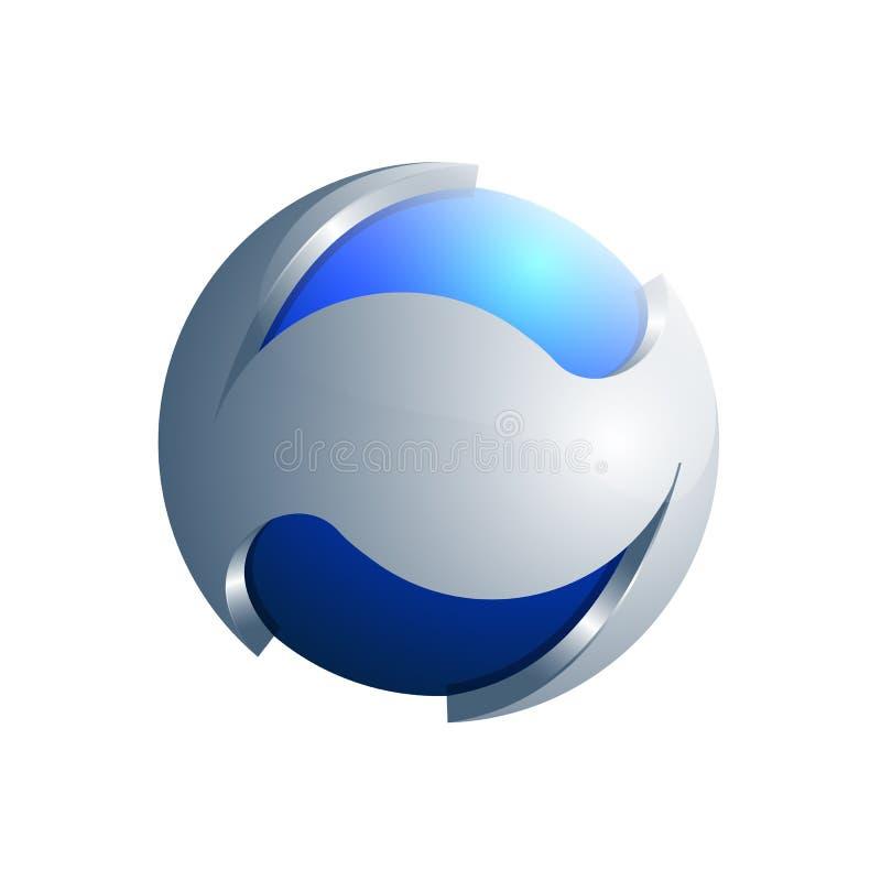 molde azul e de prata de 3D da esfera da ecologia do logotipo ilustração royalty free