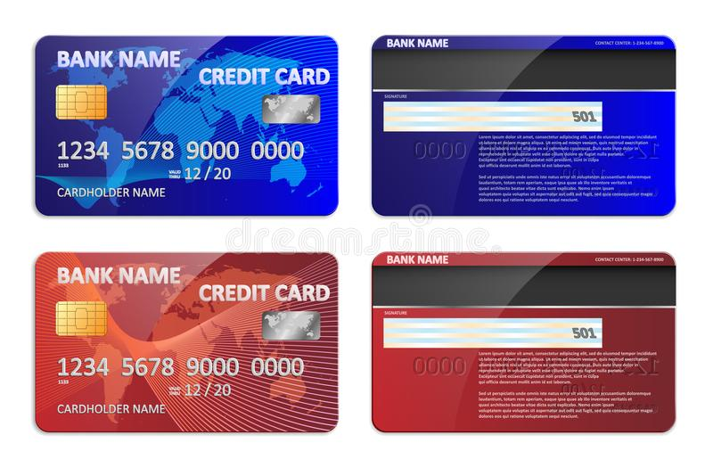 Molde azul e vermelho realístico do cartão de crédito bancário isolado Deposite o modelo plástico do cartão de crédito com projet ilustração stock