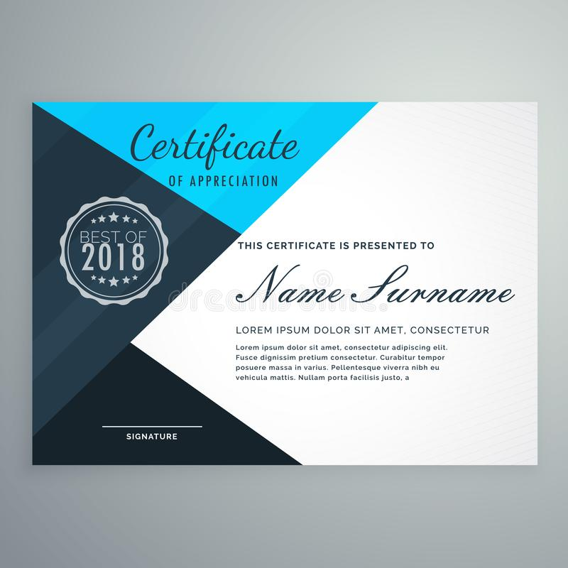 Molde azul elegante do projeto do certificado do diploma ilustração royalty free