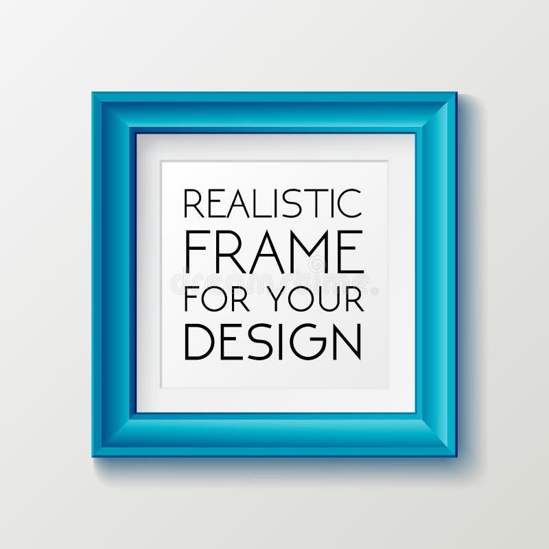 Molde azul quadrado realístico do quadro, quadro no modelo da parede com beiras decorativas ilustração stock