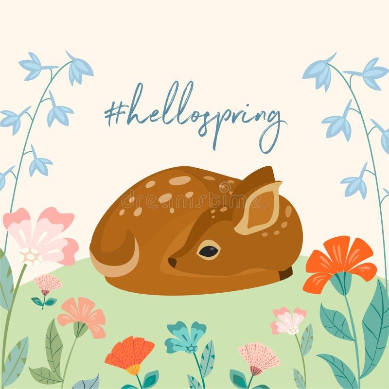 Molde bonito da mola com os cervos bonitos e o texto do bebê Ilustração do vetor Pode ser usado para a bandeira, cartaz, cartão,  ilustração royalty free