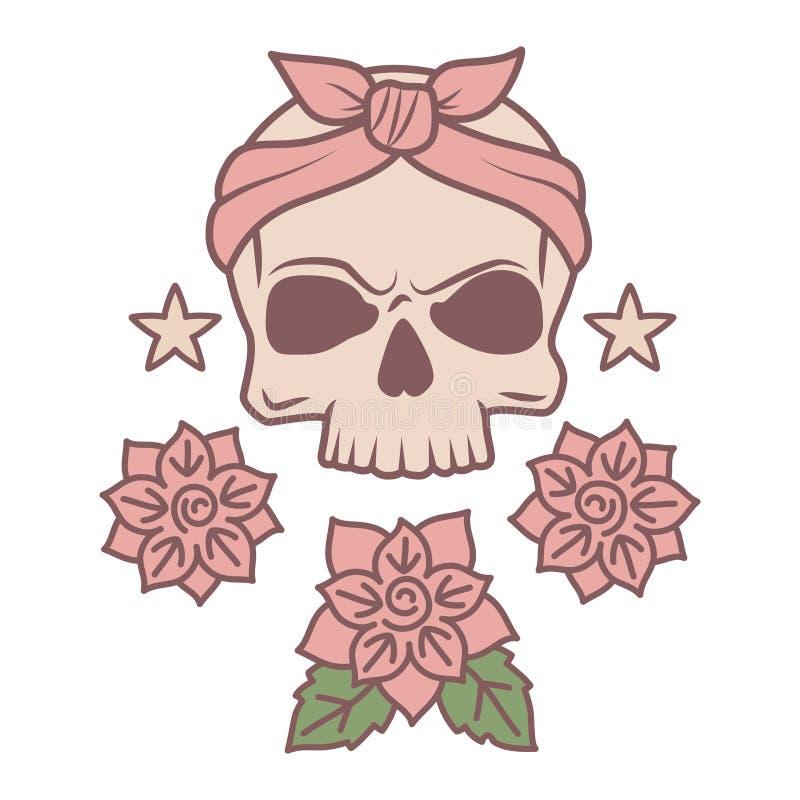 Molde bonito da tatuagem do crânio e das flores ilustração royalty free