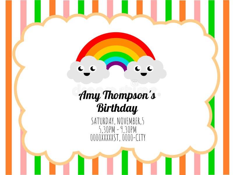 Molde bonito do cartão de um convite do aniversário ilustração stock