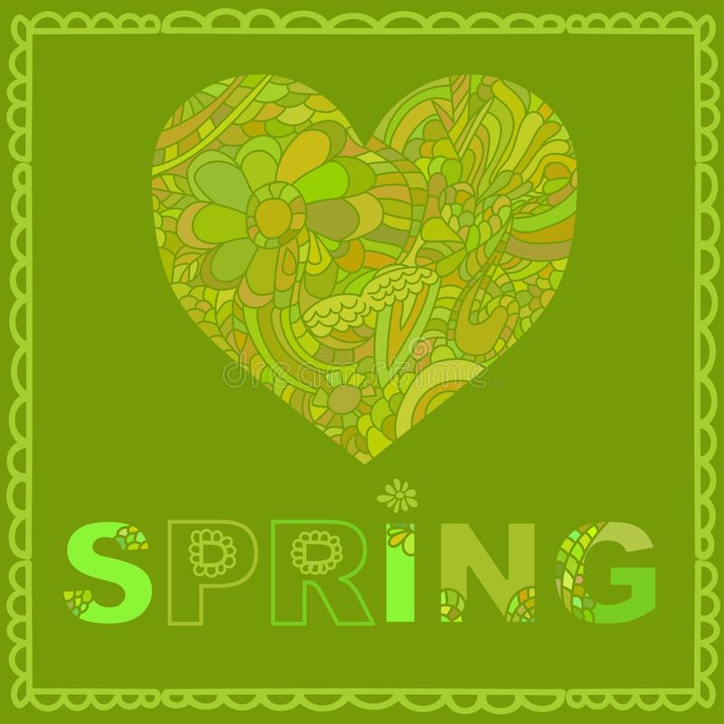 Molde bonito do cartão em cores verdes Molde romântico à moda do cartão com o coração feito da garatuja colorida no verde ilustração stock