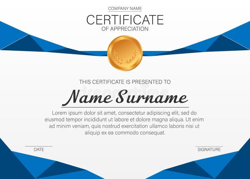 Molde bonito do certificado Projeto do vetor para a concessão, diploma ilustração stock
