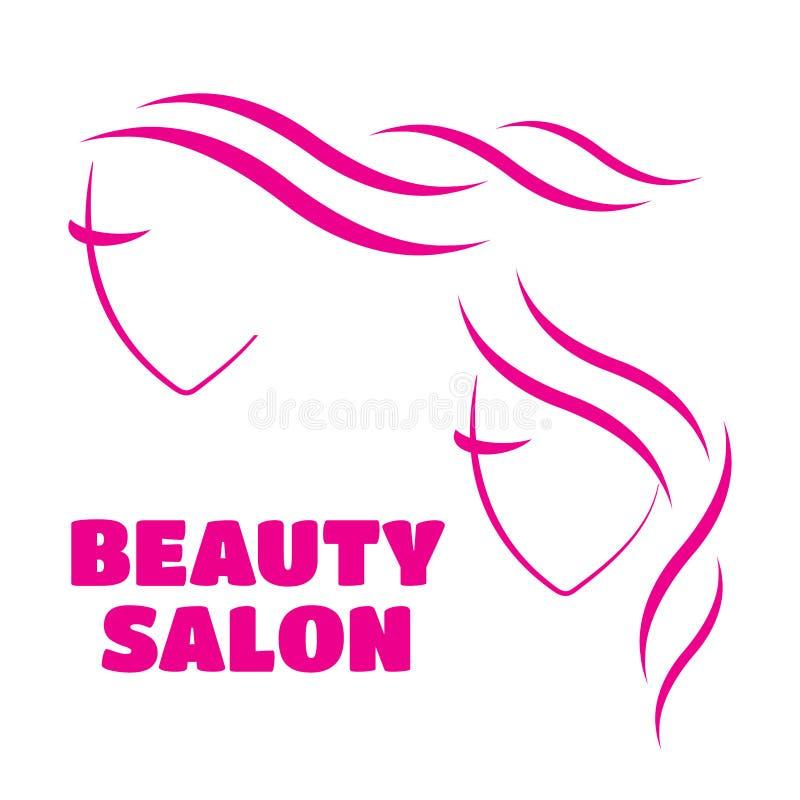 Molde bonito do logotipo da cara da mulher para o cabeleireiro Mulher ilustração stock